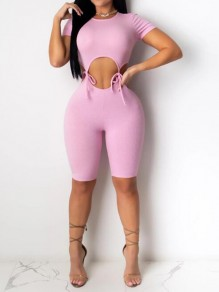 Pink Two Piece Cut Out Round Neck Short Sleeve Fashion Short Jumpsuit