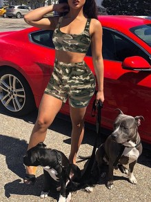 Green Camouflage Two Piece Square Neck Sleeveless Sports Short Jumpsuit