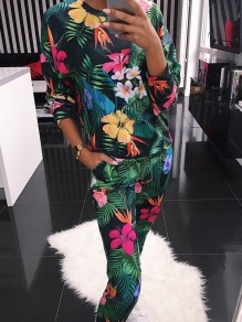 Green Floral 2-in-1 Print Round Neck Long Sleeve Mid-rise Fashion Jumpsuits