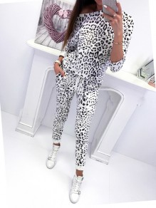 White Leopard Print Drawstring Round Neck Long Sleeve High Waisted Fashion Jumpsuits