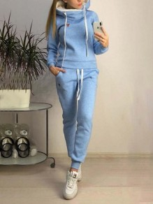 Blue Patchwork Pockets 2-in-1 Hooded Long Sleeve Sports Jumpsuits