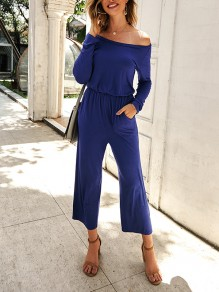 Navy Blue Draped Off Shoulder Long Sleeve Round Neck Fashion Jumpsuits