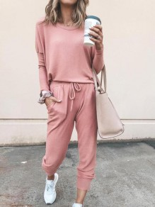 Pink Pockets Drawstring Bodycon Comfy Long Sleeve Going out Jumpsuit