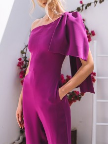 Rose Carmine Irregular Pockets Asymmetric Shoulder Trendy Elegant Formal Banquet Jumpsuit