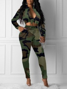 Army Green Camouflage Print Drawstring Pockets Deep V-neck High Waisted Two Piece Long Jumpsuit
