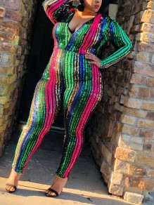 Red Rainbow Striped Sequin Bodycon V-neck Sparkly Glitter Birthday Party Long Jumpsuit