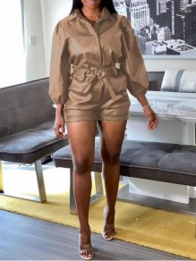 Brown Single Breasted Pockets 3/4 Sleeve PU Leather Latex Two Piece Casual Short Jumpsuit
