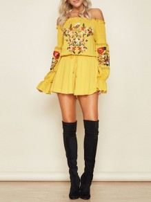 Yellow Mexican Embroidery Print Off Shoulder Flare Long Sleeve Mexico Short Jumpsuit