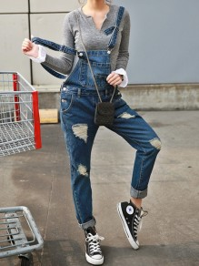 Light Blue Cut Out Pockets High Waisted Jeans Overall Pants Long Jumpsuit