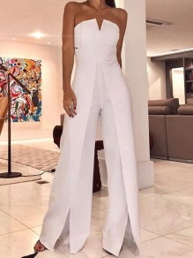 White Cut Out Off Shoulder Slit Elegant Prom Wide Leg Long Jumpsuit