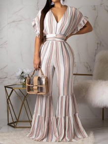 White Striped Big Swing Ruffle Sleeve V-neck Long Ruffle Flare Bell Bottom Casual Jumpsuits