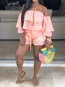 Pink Cascading Ruffle Off Shoulder Ruffle Sleeve 2-in-1 Casual Short Jumpsuits