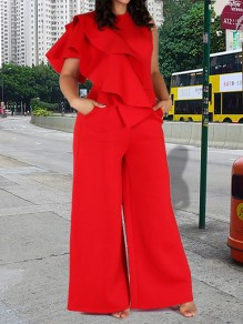 Red Patchwork Zipper Cascading Ruffle Sleevele Round Neck Wide Leg Plus Size Long Work Jumpsuits
