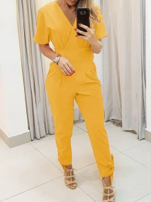 Yellow Pockets Bow High Waisted Fashion Long Jumpsuit