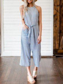 Grey White Striped Sashes Pockets High Waisted Nine's Jumpsuit