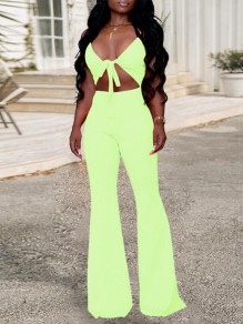 Neon Green Zipper Cut Out Backless Shoulder-Strap Tie Front Lace-up V-neck Flare Bell Bottom Long Jumpsuits