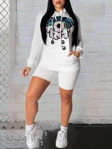 "White Pockets Devil's Eye Sequin Print And ""ALL EYES ON ME"" Letter Print Back Hooded Long Sleeve 2-in-1 High Waisted Sports Short Casual Jumpsuit"