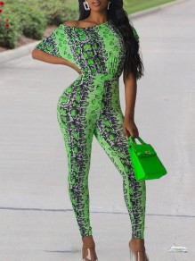 Neon Green Snake Skin Print Off One Shoulder Short Sleeve Bodysuit Clubwear Long Jumpsuit