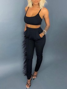Black Pockets Patchwork Feather Shoulder-Strap U-neck Sleeveless Two Piece High Waisted Casual Long Jumpsuit