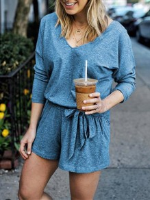 Blue Drawstring Bodycon Comfy V-neck Lace-up Going out Jumpsuit