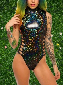 Black Zipper Cut Out High Neck Sleeveless One-Piece Festival Feast Rave Unicorn Reflective Short Jumpsuit