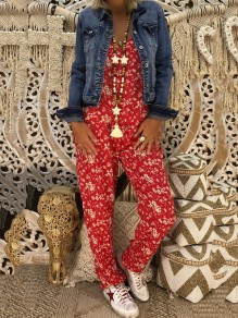 Red Floral Mid-rise Oversize Fashion Long Jumpsuit