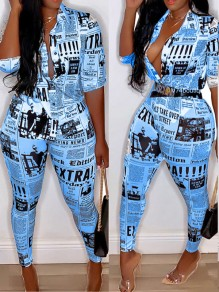 Blue Newspaper Print Bodycon Deep V-neck Long Sleeve Casual Long Jumpsuit