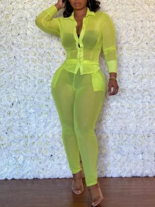 Neon Green Patchwork Pockets Grenadine Turndown Collar Long Sleeve Two Piece Sheer Bodysuit Long Jumpsuit