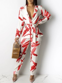 Red Boohoo Palm Leaves Print Belt Tailored Collar V-neck Long Sleeve Two Piece Work Long Jumpsuit