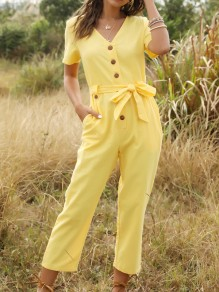 Yellow Single Breasted Sashes Pockets High Waisted Nine's Jumpsuit