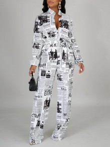 White Newspaper Print Pockets Belt Turndown Collar V-neck Long Sleeve Wid Leg Long Jumpsuit