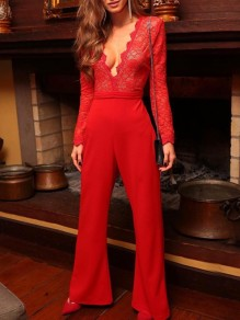 Red Patchwork Lace Deep V-neck Elegant Party Wide Leg Palazzo Long Jumpsuit