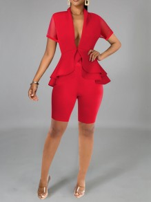 Red Patchwork Grenadine Cascading Ruffle Pleated Peplum Two Piece V-neck Party Short Jumpsuit