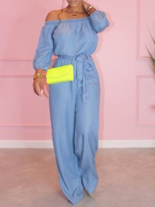 Light Blue Belt Off Shoulder Long Sleeve Wide Leg Palazzo Pants Denim Casual Long Jumpsuit