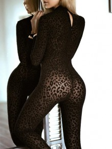 Black Leopard Print Zipper Grenadine Band Collar Long Sleeve Sheer Bodysuit Clubwear Long Jumpsuit