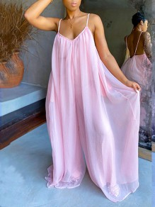 Pink Patchwork Grenadine Pleated Spaghetti Strap Backless Bohemian Beachwear Party High Waisted Wide Leg Palazzo Long Jumpsuit