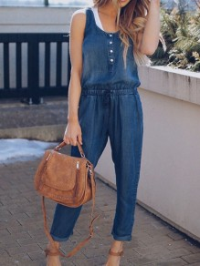 Blue Pocket Button Drawstring Spaghetti Strap Oversize Long Denim Jumpsuit