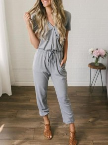 Black Pocket Drawstring Oversize Short Sleeve Long Denim Jumpsuit