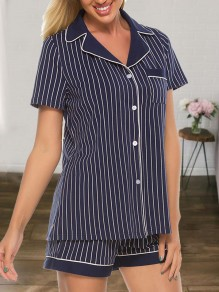Navy Blue Striped Single Breasted Short Sleeve Shorts Pajamas Sets Jumpsuit Sleepwear