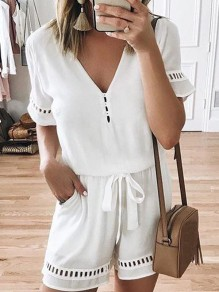 White Pocket Drawstring Short Sleeve Oversize Fashion Short Jumpsuit Sleepsuit