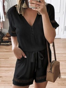 Black Pocket Drawstring Short Sleeve Oversize Fashion Short Jumpsuit Sleepsuit