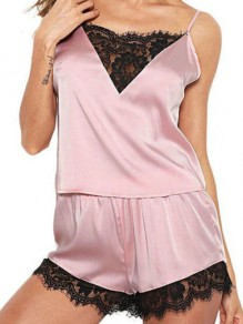 Pink Patchwork Lace Satin Spaghetti Strap Two Piece Fashion Short Jumpsuit Sleepsuit Pajamas