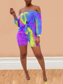 Purple Colorful Tie Dye Irregular Knot Off Shoulder Two Piece Clubwear Beach Holiday Short Jumpsuit