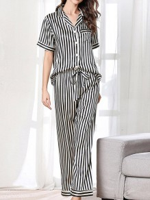Black White Pockets Single Breasted Sashes Two Piece Fashion Long Jumpsuit