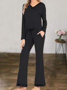 Black V-neck Long Sleeve Fashion Bootcut Jumpsuit Sleepsuit Pajamas