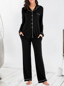 Black Single Breasted Pockets 2-in-1 Fashion Long Pajama Sets Sleepwear Jumpsuit