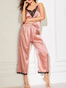 Light Pink Patchwork Lace 2-in-1 Long Pajama Sets Sleepwear Jumpsuit