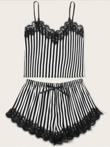 Black White Striped Lace Spaghetti Strap Backless Short Jumpsuit Sleepsuit Pajamas