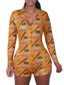 "Yellow ""BACKWOODS"" Print V-neck Long Sleeve Short Romper Pajama"