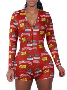 "Red ""BACKWOODS"" Print V-neck Long Sleeve Short Romper Pajama"